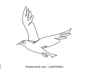 Continuous line art or One Line Drawing of cute animals dove symbol of peace. linear style and Hand drawn vector illustrations, outline