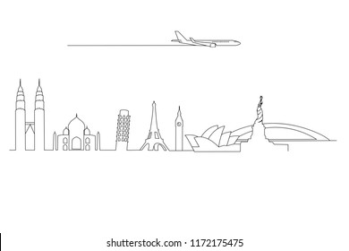 Continuous line art or One Line Drawing of   World skyline. Travel and tourism background. Famous buildings and monuments France,England,Spain,Italy