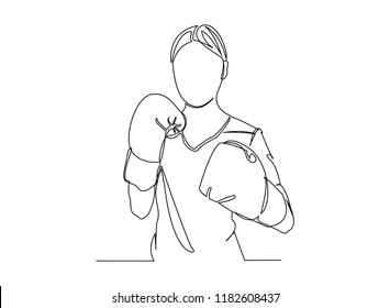 Continuous line art or one line drawing of a healthy boxer vector illustration.
