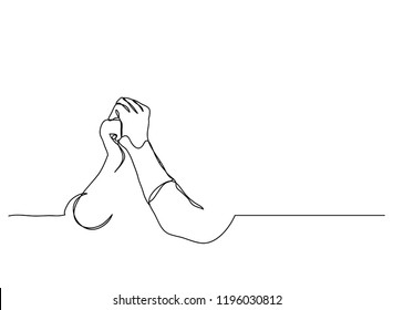 Continuous line art or One Line Drawing of  Prayer Hand, linear style and Hand drawn Vector illustrations,outline ,cartoon doodle style.