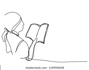 Continuous line art or One Line Drawing The ladies are reading books, vector illustration.