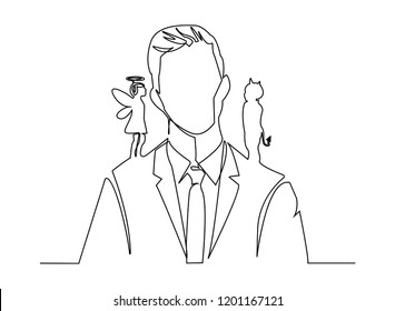 Continuous line art or One Line Drawing of Angel and devil on the man shoulders, suggesting. Cartoon vectorillustration