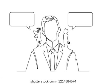 Continuous line art or One Line Drawing of Angel and devil on the man shoulders, suggesting. Cartoon vector illustration with dialog speech bubbles