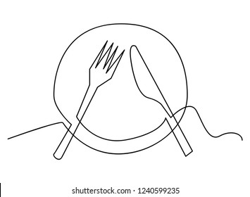Continuous line art or One Line Drawing of plate, khife and fork. linear style and Hand drawn Vector illustrations