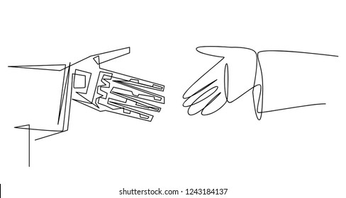 Continuous line art or One Line Drawing of artificial intelligence, future technology and communication concept - robot and human hand connecting fingers