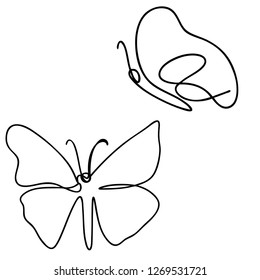 Continuous line art or One Line Drawing of Beautiful butterfly, simple, cute, vector illustration