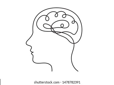 Continuous line art or One Line Drawing of a human brain, mechanical and robotic technology with advanced