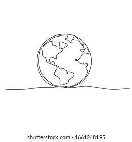 Continuous line art or one line drawing of global vector on white background.