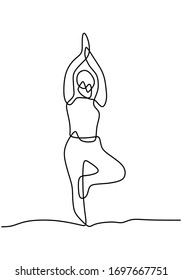 Continuous line art or one line drawing of a woman doing yoga pose. Standing on one leg. Tree yoga pose. She raising her leg and stretching body for healthy life. Hand drawn vector illustration