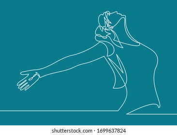 Continuous line art or One Line Drawing of a woman stretching arms is relaxing picture vector illustration