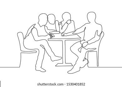 continuous line art silhouette of four men at a small table. The three men look at the fourth, who is sitting dominantly across from them. A company of friends in a cafe, corporate gatherings, waiting