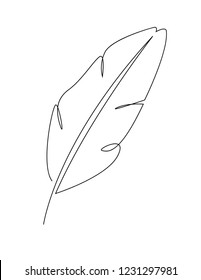 Logo für Bananenblätter mit kontinuierlicher Linie. Vektorillustration der tropischen Blätter. Feder-Symbol für eine einzelne Linie