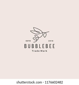 continuous line bee logo, hipster retro vintage vector icon, bumblebee outline monoline linear illustration