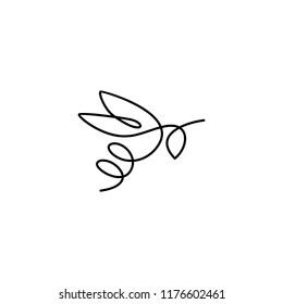 continuous line bee logo vector icon, bumblebee outline monoline linear illustration