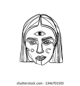 Continuous line of a boho woman. Portrait of a young ethnic girl or woman with esoteric symbols. One line drawing isolated on white background.