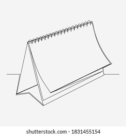 Continuous line, Calendar whilst turning the pages. Drawing of set Object. (Vector illustration one line drawing)