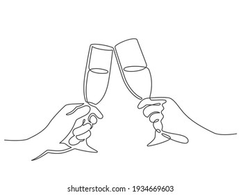 Continuous line champagne cheers. Hands toasting with wine glasses with drinks. Linear people celebrate christmas or birthday vector concept