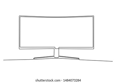 Continuous line Computer Monitor Simple style Hand painted Vector illustration
