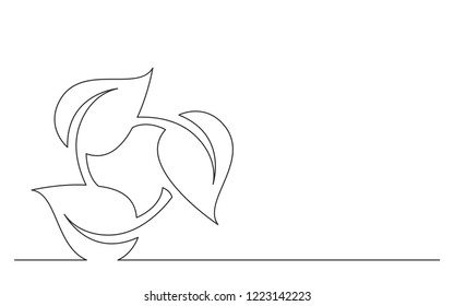 continuous line concept sketch drawing of renewal green energy symbol