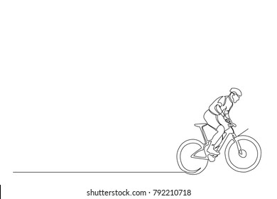 continuous line cyclist on a bicycle in competitions, drawn by hand. Icon, vector, picture, tattoo. Place for the inscription.