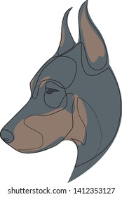 Continuous line Doberman Pinscher. Single line minimal style Doberman dog vector illustration. Portrait