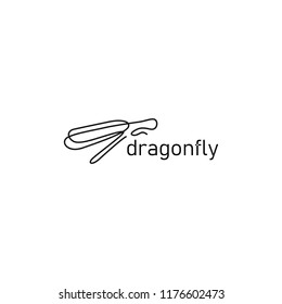 continuous line dragonfly logo vector icon, outline linear monoline illustration