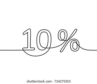 Continuous line drawing of 10 percent sign, Black and white vector minimalistic hand drawn illustration