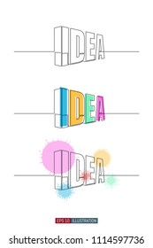 Continuous line drawing of 3d idea word typography. Abstract horizontal isometric concept. Template for your design works. Vector illustration.