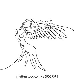 Continuous line drawing. Abstract portrait of angel woman with wings. Vector illustration.