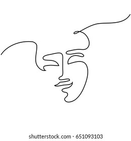 Continuous line drawing. Abstract portrait of a woman. Vector illustration.