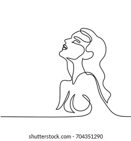 Continuous line drawing. Abstract portrait of a woman side view. Vector illustration.