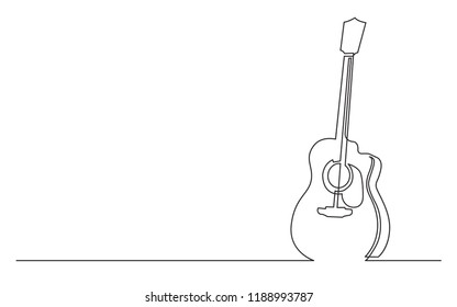 continuous line drawing of acoustic guitar