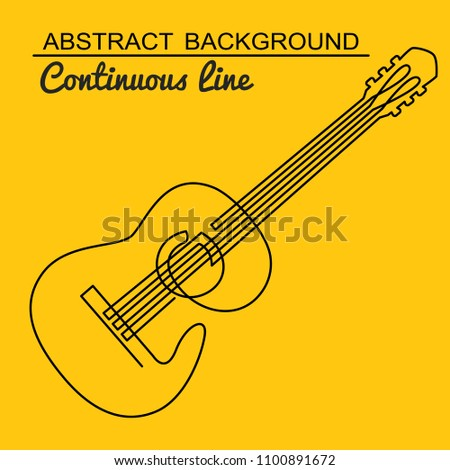Continuous Line Drawing Acoustic Guitar Vector Stock Vector Royalty