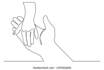 continuous line drawing of adult hand holding child hand