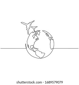 Continuous line drawing of airplane flying around the world. Business and tourism, airplane travel concept. Vector sketch illustration for print, web, mobile and infographics on white background.