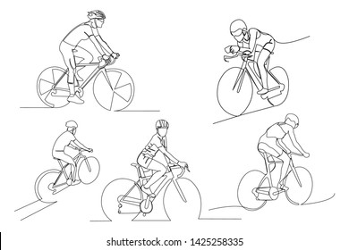 continuous line drawing of Athlete bicycle collection action Vector illustration.