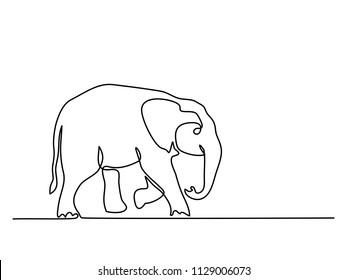 Continuous line drawing. Baby Elephant walking symbol. Logo of the elephant. Vector illustration
