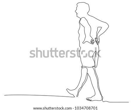 Continuous Line Drawing Backache Concept Bending Stock Vector