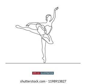 Continuous line drawing of ballerina. Template for your design works. Vector illustration.