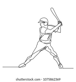 continuous line drawing of Baseball players sports concept vector health illustrations