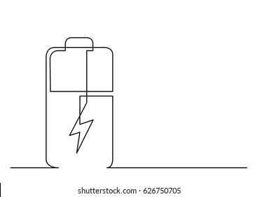 continuous line drawing of battery