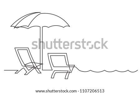 continuous line drawing beach chairs sea stock vector royalty free