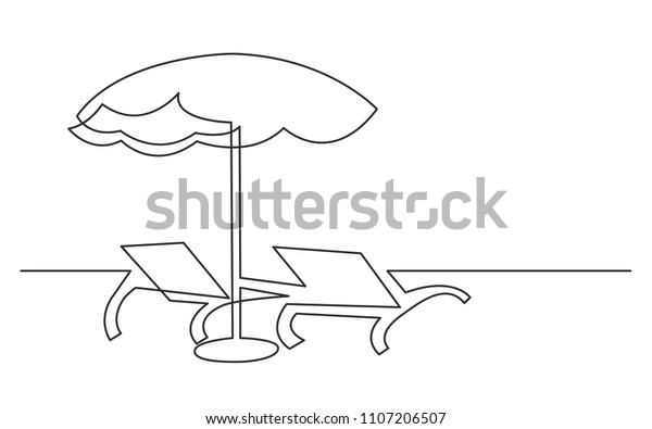 Continuous Line Drawing Beach Chairs Umbrella Stock Vector Royalty