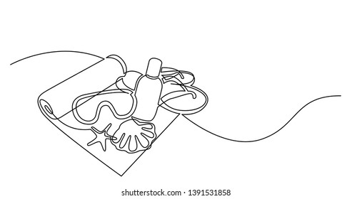 continuous line drawing of beach towel sunscreen lotion swimming googles flip flops on sand beach