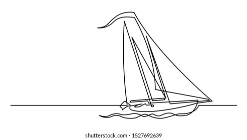 continuous line drawing of beautiful sailboat sailing on sea
