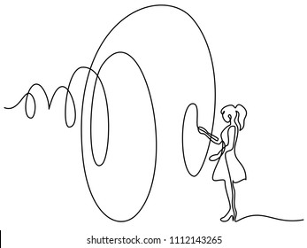Continuous line drawing. Beautiful woman with big ribbon. Vector illustration. Concept for logo, card, banner, poster, flyer