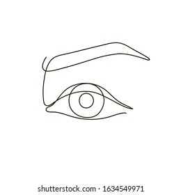 Continuous line drawing. Beautiful Woman s eye. Black and white isolated outline vector illustration. Concept for logo