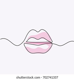Continuous line drawing. Beautiful Woman lips logo. Soft colors isolated outline vector illustration. Concept for logo, card, banner, poster, flyer