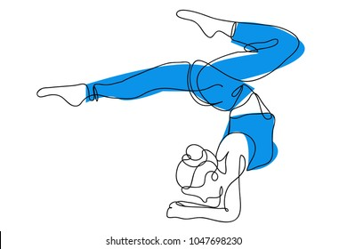 continuous line drawing of beautiful women fitness yoga