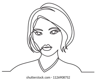 continuous line drawing of beautiful young woman portrait on white background